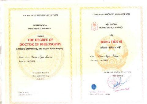 Bằng cấp, chứng chỉ Tiến sĩ- Bác sĩ Đàm Ngọc Trâm tại Nha khoa Paris.
